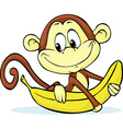 cute monkey hold banana vector image vector image