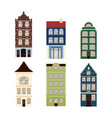 cute retro houses exterior set collection of