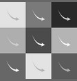 declining arrow sign grayscale version of vector image vector image