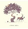 Deer silhouette nature vector image vector image