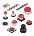 different buttons sign 3d icon set isometric view vector image