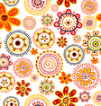 Doodle flowers seamless pattern vector image vector image