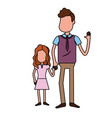 father with his daughter together and holding vector image vector image