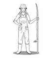 fisherman girl coloring book vector image vector image