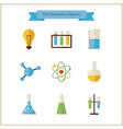 Flat School Chemistry and Science Objects Set vector image