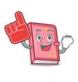 foam finger diary mascot cartoon style vector image vector image