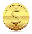 golden icon of coin dollar white background vector image