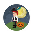 halloween and boy vector image