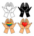hands and heart icons - line colorful rainbow vector image vector image