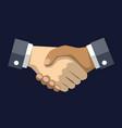 handshake draw on blue dark background business vector image