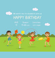 happy birthday invitation card with cute little vector image vector image