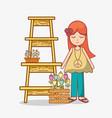 hippies woman cartoon vector image vector image
