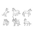 horse line sign and symbol vector image vector image