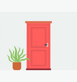 house front with red door and plant in pot flat vector image vector image