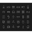 House furniture linear icons set Chalk vector image vector image
