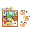 jigsaw puzzle pieces of boy cleaning floor vector image vector image