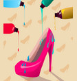 multicolor paint dripping on vibrant pink heels vector image vector image