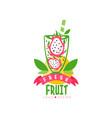 original logo with halves ripe pitaya in glass vector image vector image