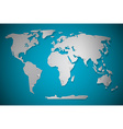 Paper Cut World Map with Bent Corners on blue vector image vector image