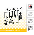 sale banner simple black line icon vector image