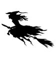 scary witch on broom fly silhouette vector image vector image