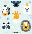 seamless childish pattern with funny animals vector image vector image