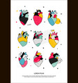 set human hearts in memphis style vector image vector image