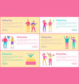 set of birthday party banners vector image vector image