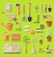 set of garden tools and items season gardening vector image
