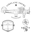 set of vintage airplane labels badges and design vector image vector image