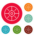 sport target icons circle set vector image vector image