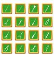 surgeons tools icons set green vector image vector image