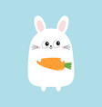 white bunny rabbit holding carrot funny head face vector image vector image