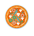 whole hot delicious vegetarian pizza with vector image vector image