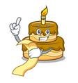 with menu birthday cake mascot cartoon vector image