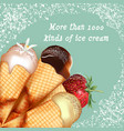 advertising poster with realistic ice cream retro vector image
