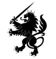 black heraldic lion with sword vector image vector image