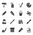 Black Painting and art object icons vector image vector image