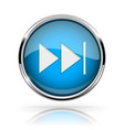 blue round media button fast forward button vector image