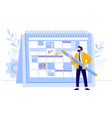 businessman check calendar man with pencil vector image vector image