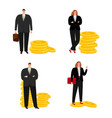 cartoon character businessman and businesswoman vector image vector image