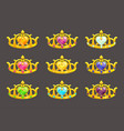 cartoon golden princess crowns set vector image vector image