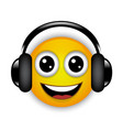 cheerful musical emoticon with headphones vector image vector image