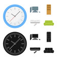 clock with arrows a computer with accessories for vector image