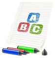 Color markers and letters on vector image vector image