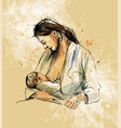 colored hand sketch mother nursing baby vector image vector image