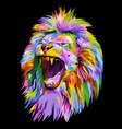 colorful lion head on pop art style vector image vector image