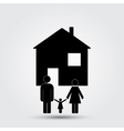 Concept image of a family under an abstract house vector image vector image