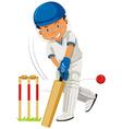Cricket player hitting ball with bat vector image vector image
