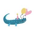 cute crocodile with birthday balloons cap vector image